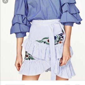 Zara embroidered ruffle skirt